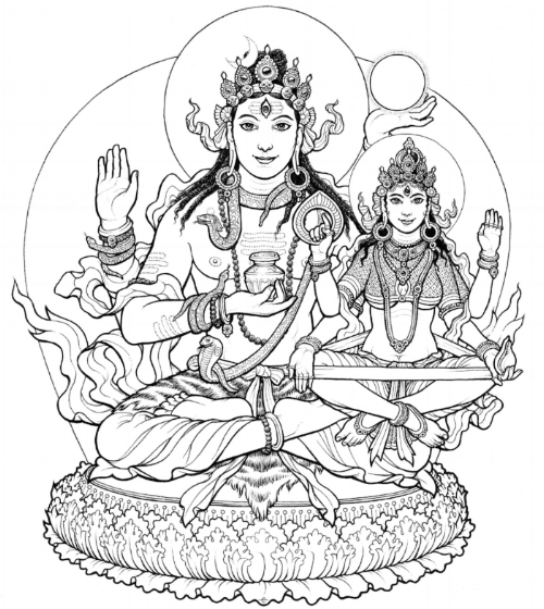 Amrteśvara, holding a jar of nectar and the full moon, with his consort Amrta-Lakshmī. Illustration by  Ekabhumi Ellik , following traditional depictions.