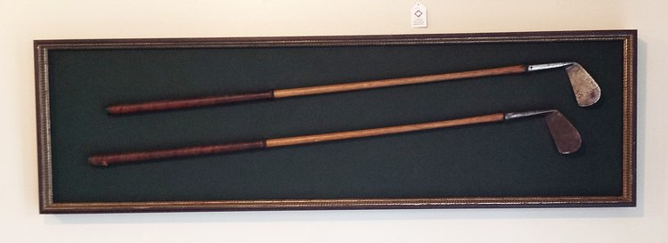 FRAMED MEMORIALBILIA  - Vintage Golf Clubs