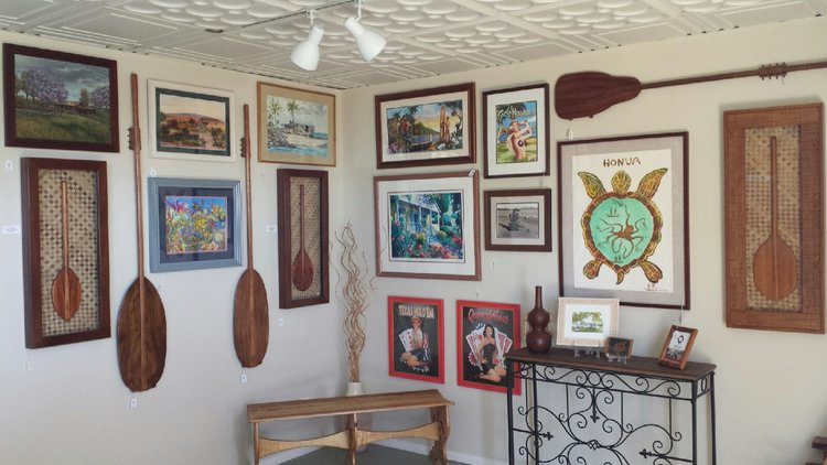 SHOWROOM GALLERY - Framed Art and Keepsakes by Local Artists and Artisans; Custom Koa Paddles by Owner Gregg Sorbets