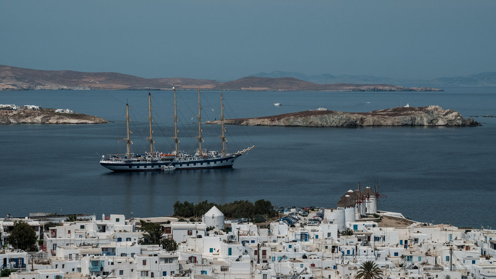 Mykonos, tall ship in the harbour of Alefkandra