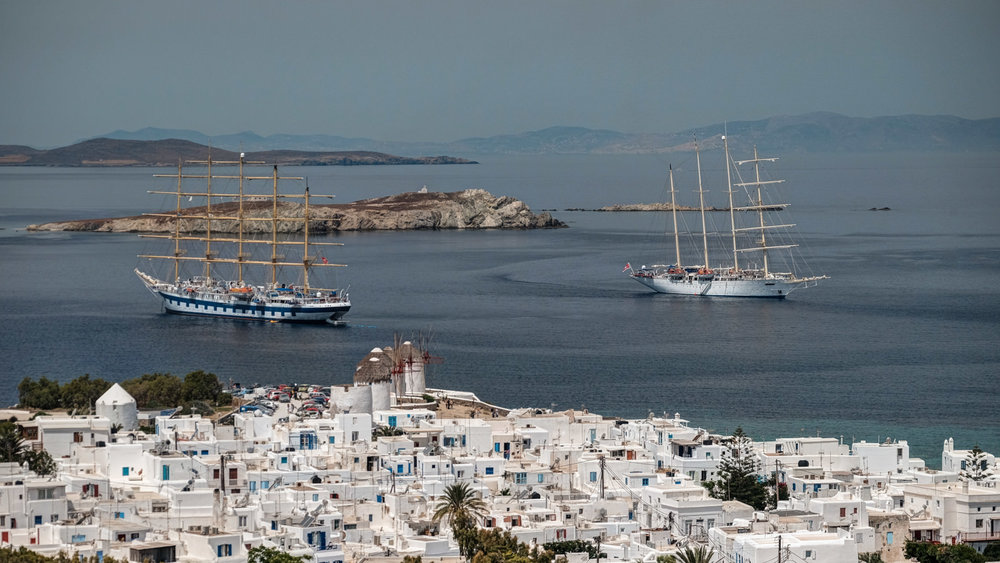 Mykonos, tall ships visiting the harbour of Alefkandra