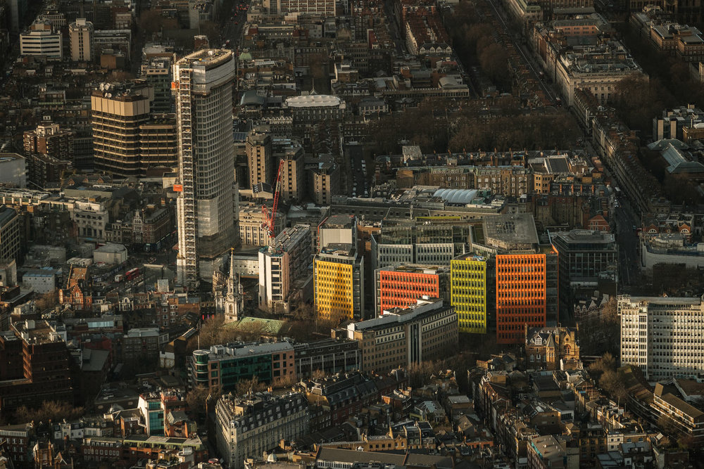 Centre Point (left) and Central Saint Giles (colourful buildings) ; X-T2 ISO200 50-140mm f3.6 1/1000s
