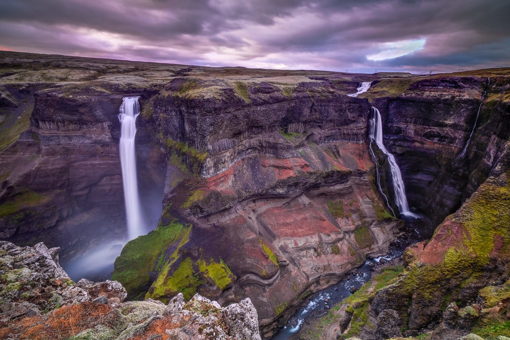 Sunset at the Tall (High) Falls - Haifoss (left, second highest waterfall in Iceland) and Granni (Neighbour, on the right). The river Fossá, a tributary of Þjórsá, drops here from a height of 122 m (Haifoss). The view here is so huge and epic that it is very difficult to get it all in one shot, so I had to use ultra wide lens. (XF 10-24mm f4 at 10mm 6.5s f11 ISO200)