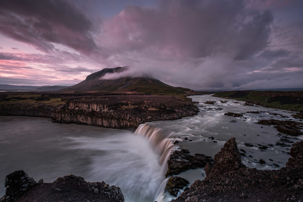 Sunset at Þjófafoss. Þjófafoss (Thjofafoss) is located on the river Þjórsá on the east side of the Merkurhraun lava fields in the south of Iceland (XF 10-24mm f4 at 10mm 6.5s f11 ISO200)