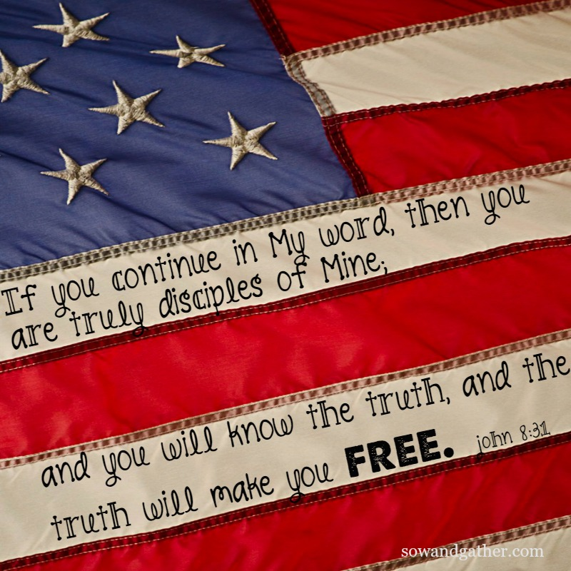#freedom #july4 #sowandgather The Truth Will Set You Free John 8:31 #flag