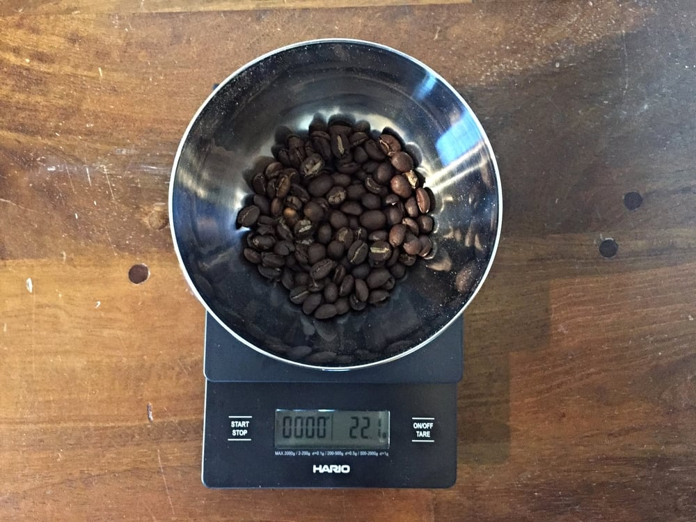 Measure out your beans (22g in this example)