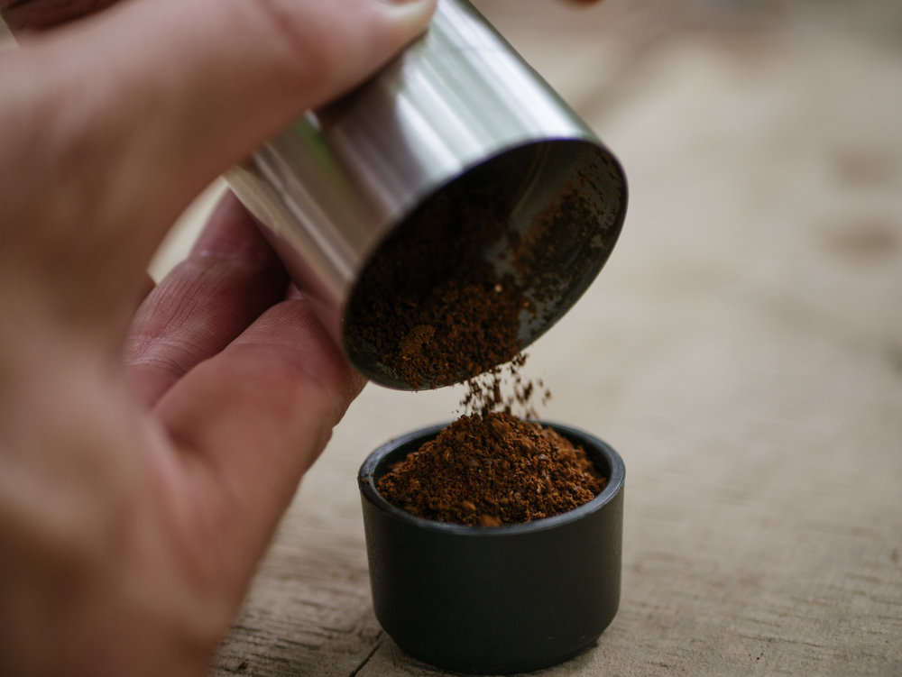 Add ground coffee to your filter basket.