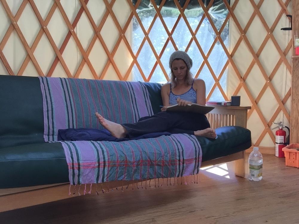 yurt-style journalling between surf sessions, Westport, 2015
