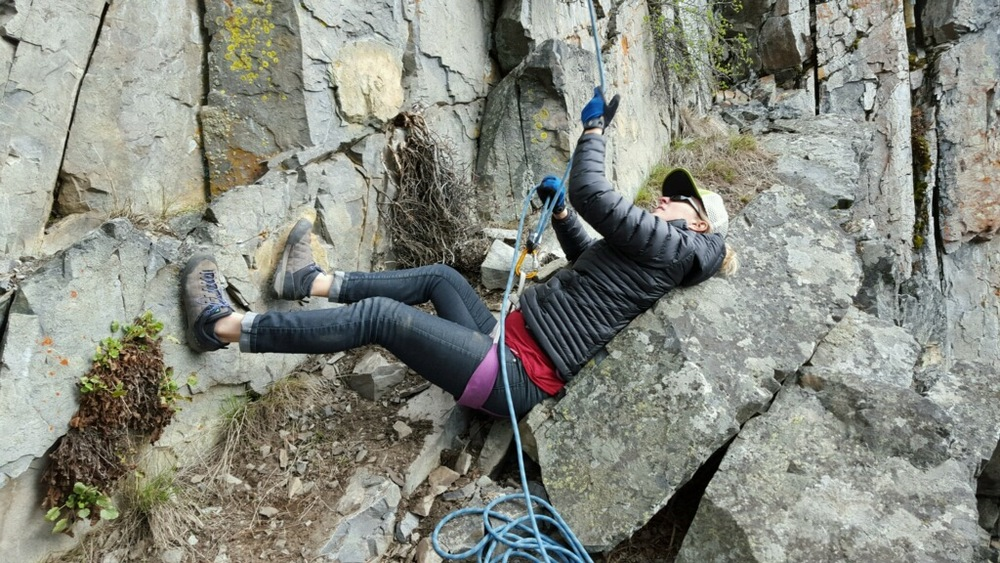 demonstrating the comfiest belay stance, 32 weeks pregnant, cr. Jill Yotz