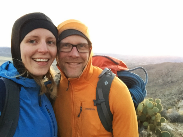enjoying the descent from a remote crag, second trimester, Joshua Tree