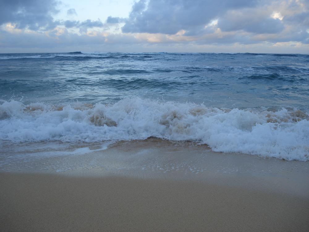 deserted beach on a sunrise run, Kauai