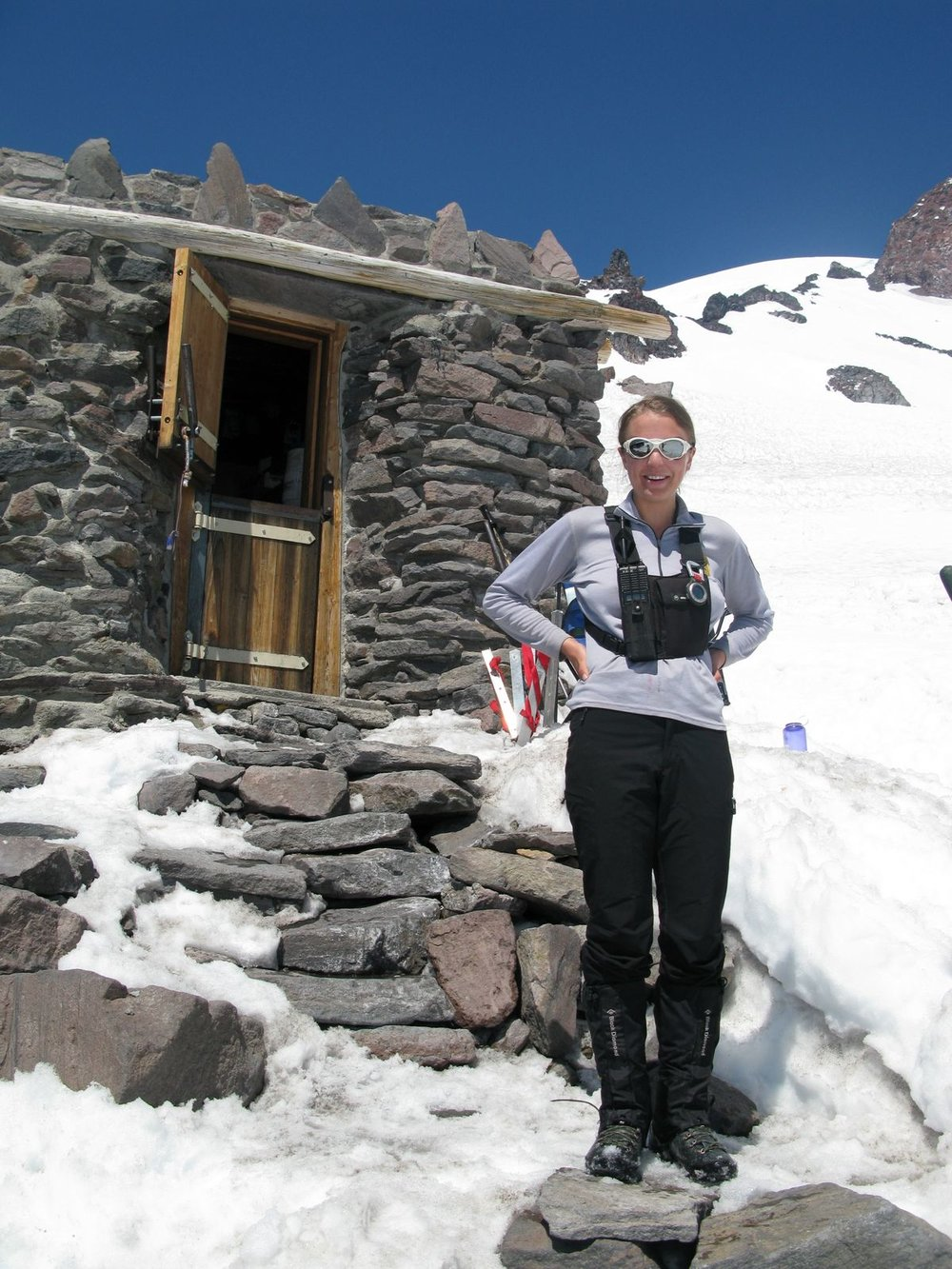 men's capiline, men's guide pants, men's boots, working at Camp Muir, 2009