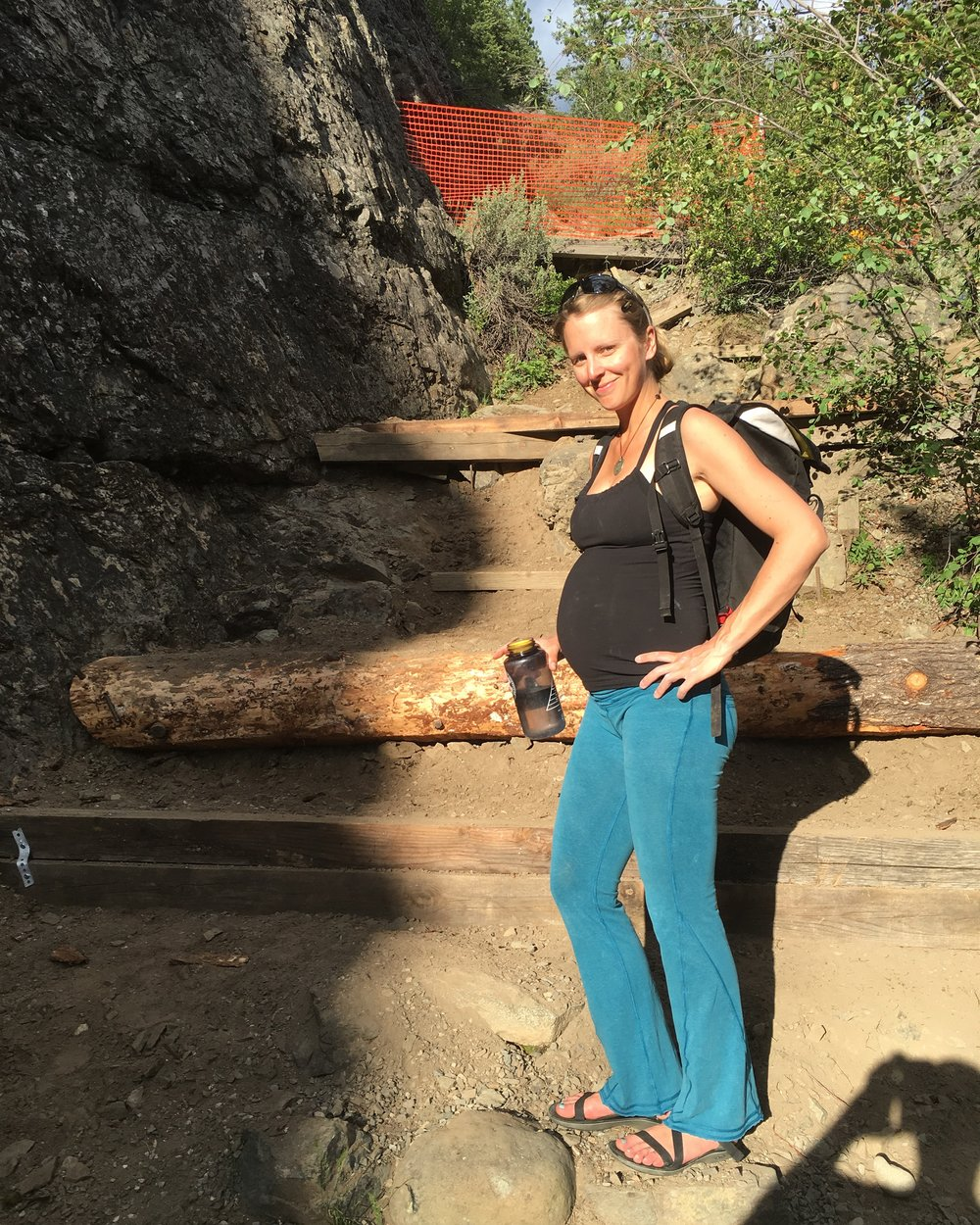 after a climbing session, Mazama, thirty-six weeks pregnant