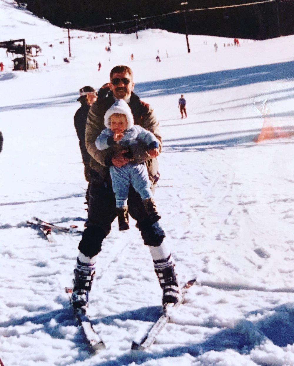 Brittany and her dad, Mark, at Crystal Mountain, 1988.