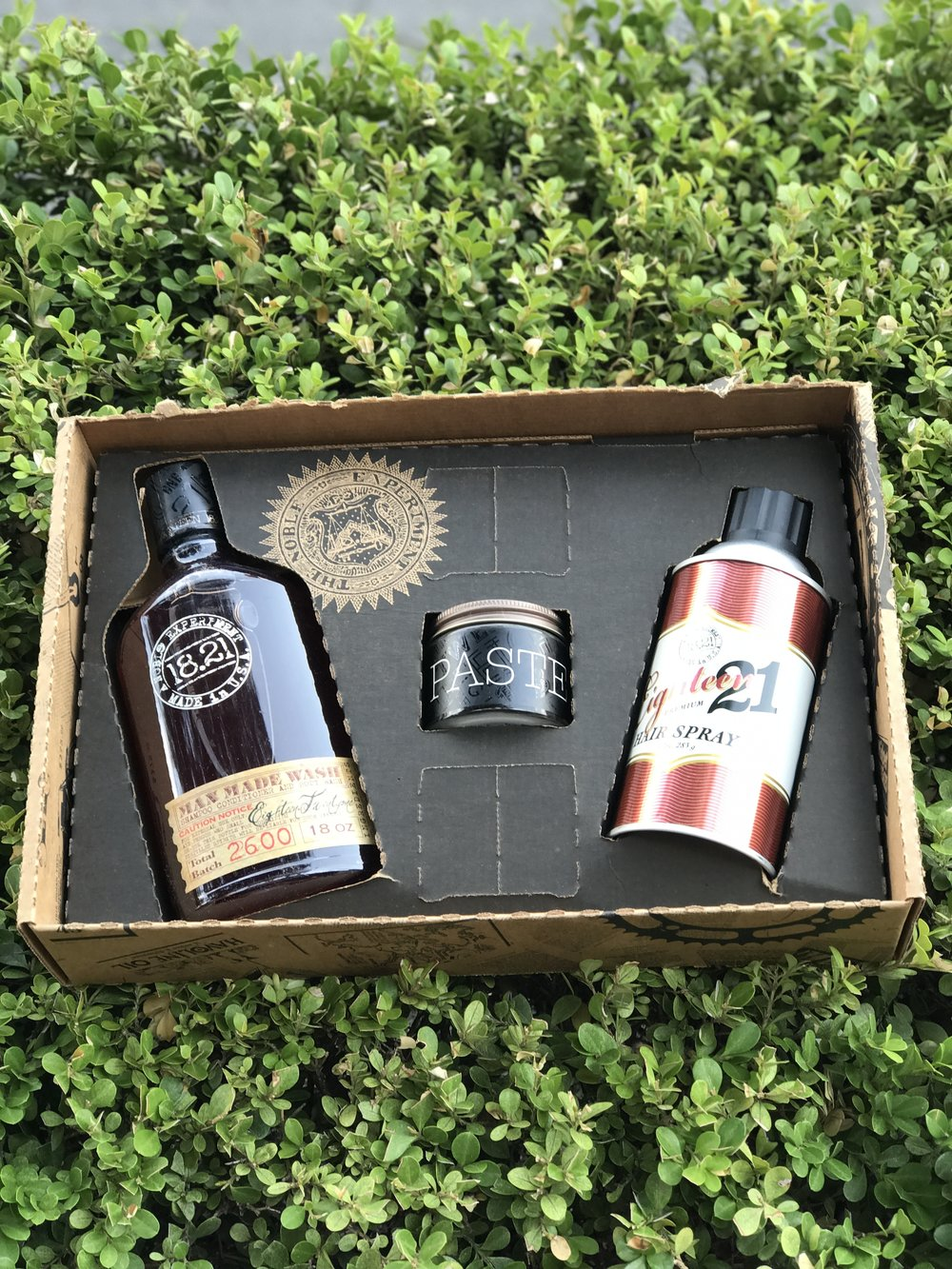 1821 Man Made Set - Get the 1821 man made wash (shampoo +conditioner+bodywash) styling product of your choice (paste, pomade, clay) and the finishing hairspray.$60 (original $72)