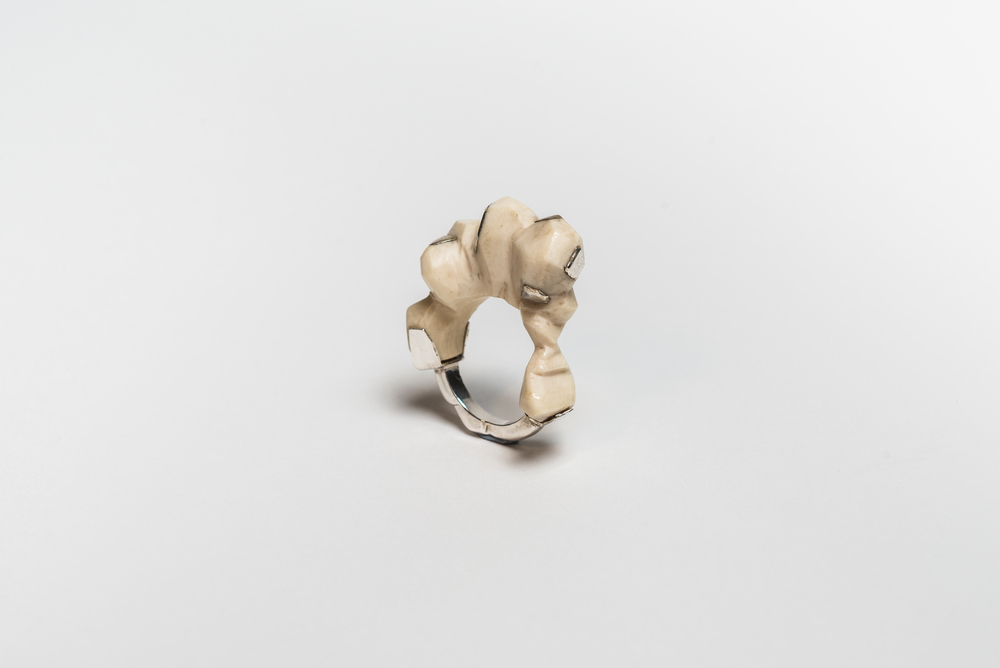 Statement Rocky Silver and Bone Ring
