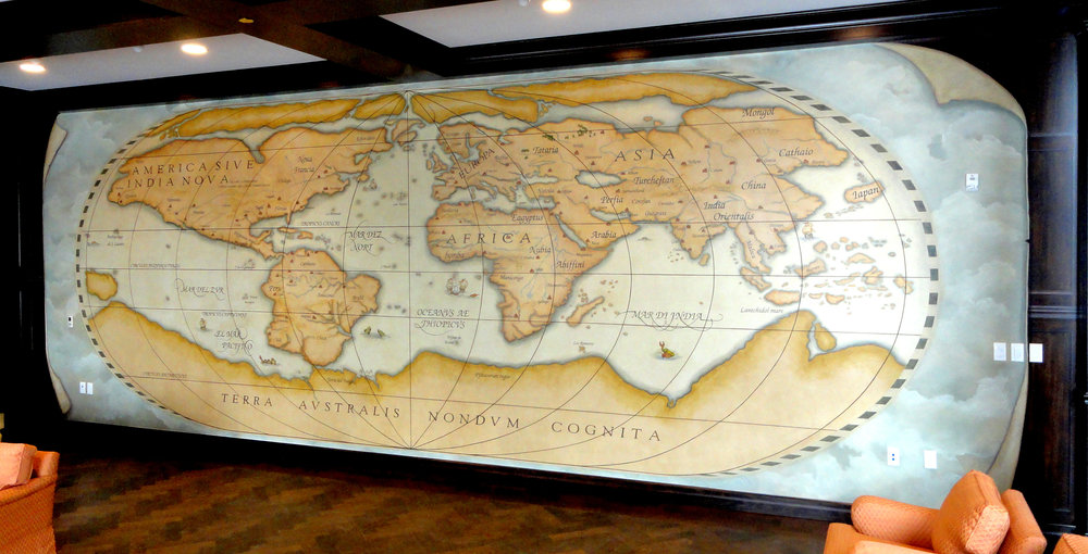 Map of the World circa 1564 - Foyer The Bruce Hotel, Stratford, Ontario, Canada