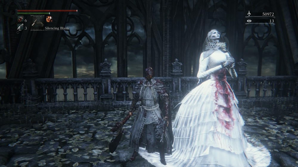 This was either the worst wedding ever or the best wedding ever. Maybe she was really hungry and dug into the meat or or maybe eaten her husband after the ceremony like a praying mantis. I killed her moments after this was taken, in bloodborne i leaned to always kill everything and double tap when they're down just to make sure. Brides be damned.