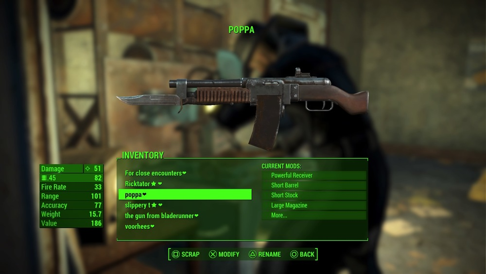 Good old Poppa. Trusty, reliable. He takes care of me. This bad boy is my go to weapon in Fallout 4. We've been through so much together. I'm just so glad that the Fallout 3 weapons breakdown mechanic is gone. I dunno if i could have handled the management of it all or the loss of a beloved companion.