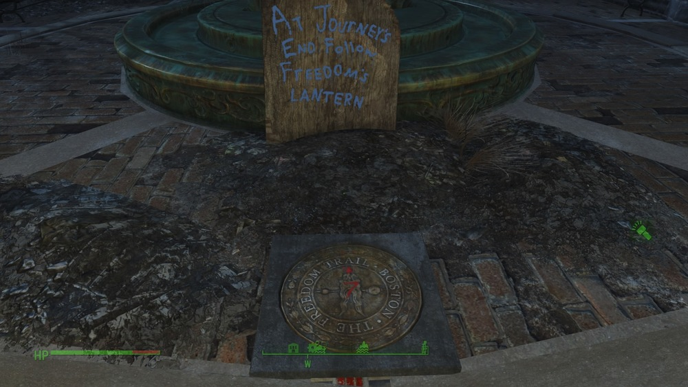 The freedom trail IS in the game. In fact its a pretty huge part of the game. The quest begins here in the Square, and you do follow the trail, although worn and broken, still functions and many of the monuments are still there. No achievements to speak of but hell, ill give him the point.