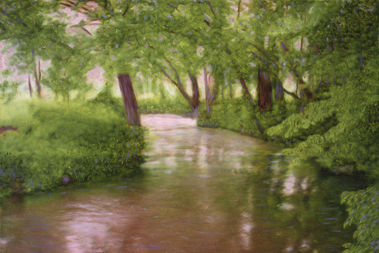 """The Epte Near Giverny"" oil on canvas by Christopher Kufner"