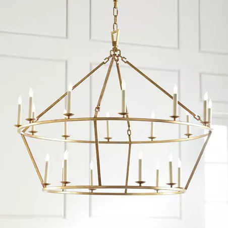 Darlana Chandelier - The Darlana Two Tier Ring Chandelier is a piece that works just as well centered in a living room or over a dining table, as it does suspended in a tall entryway. I've used the linear version of this chandelier (here) installed in the dining room of a client's rustic Vermont vacation home. For more of a polished look, go with the gilded iron or polished nickel finish.