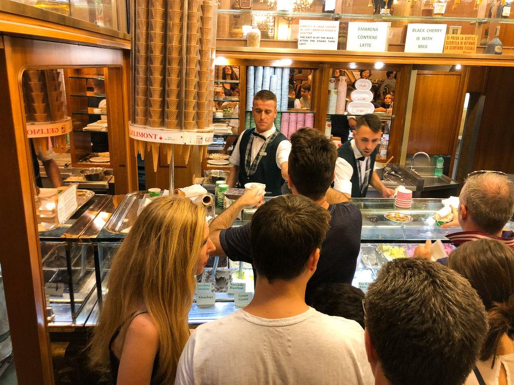Ordering Gelato at Giolitti