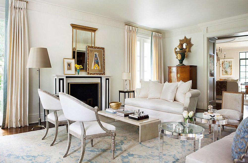 Designer Suzanne Kasler's home, featuring antique Swedish Gustavian Style Chairs; Image via One Kings Lane