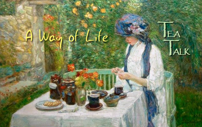 Tea Talk – Haiku: A Way of Life. Painting: French Tea Garden (also known as The Terre-Cuite Tea Set, 1910) by Childe Hassam (1859–1935)