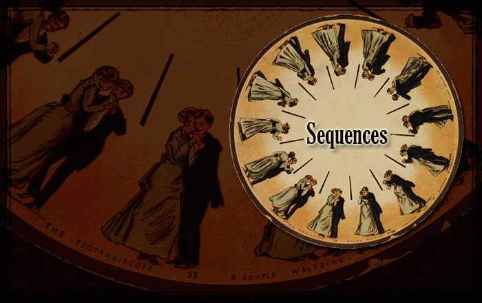 Episode 24: Sequences.  Illustration from Phenakistoscope – a couple waltzing by Eadweard James Muybridge. English photographer important for his pioneering work in photographic studies of motion and in motion-picture projection.