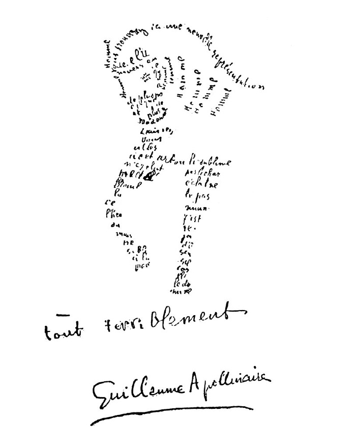 A Calligramme by Guillaume Apollinaire