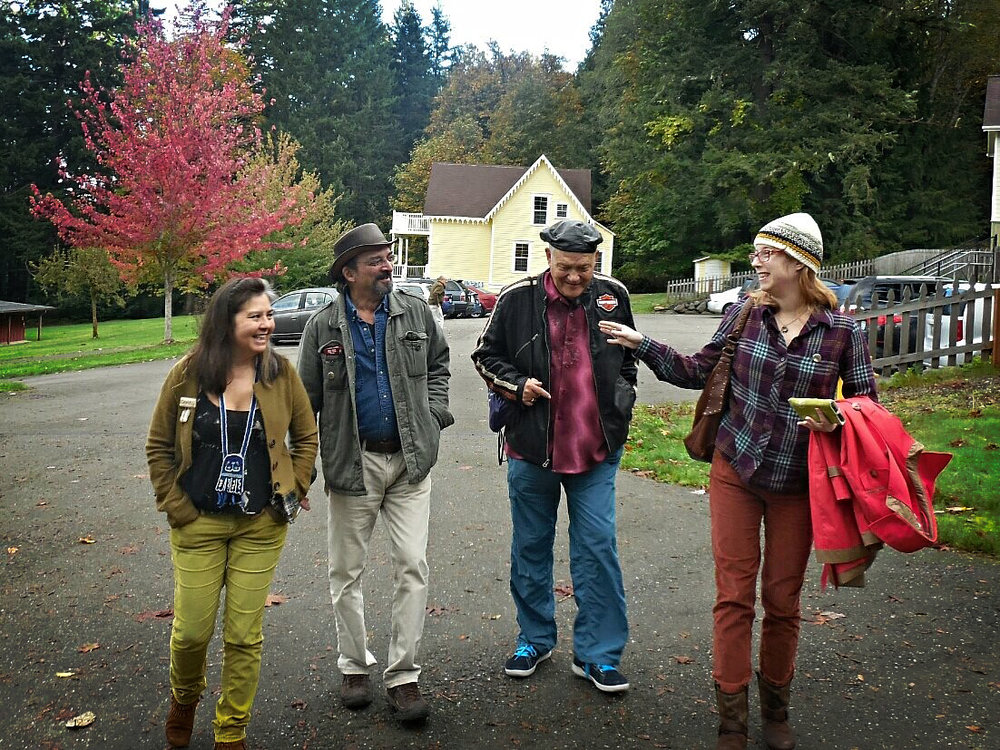 At the Seabeck Haiku Getaway 2014 in Seabeck, WA. From left to right, your hosts Donna Beaver and Alan Pizzarelli with poets Bob Moyer and A.C. Warner. (photo by Deborah P Kolodji)