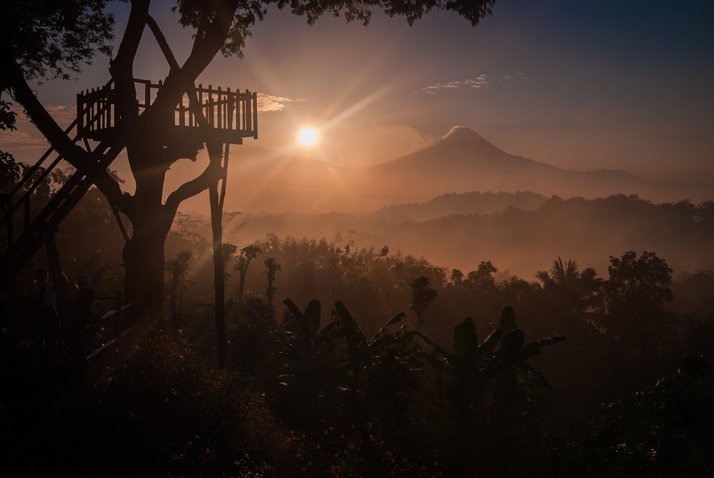 The sunrise view of Mount Merapi is truly worth the hike in the middle of the night. Mount Merapi, Indonesia