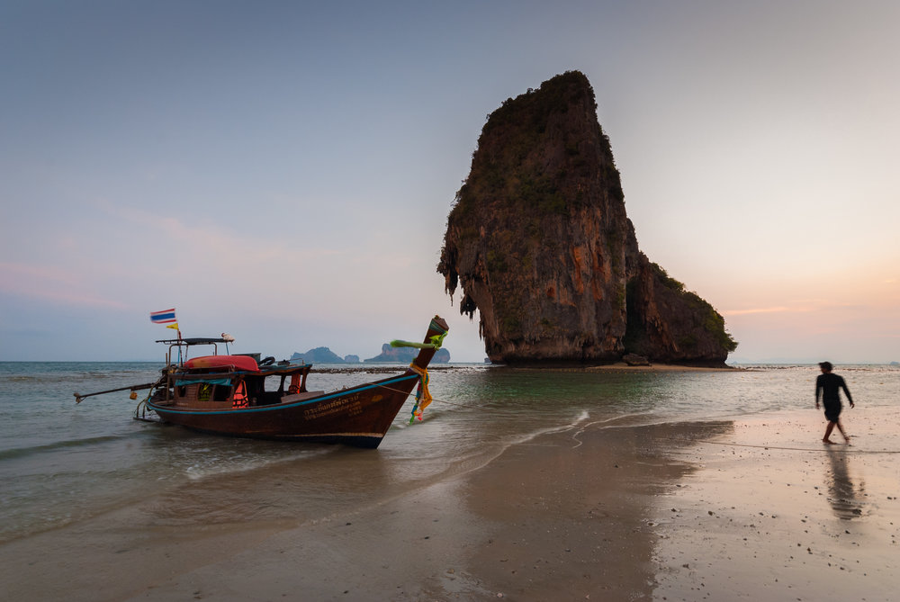 Beautiful golden hour at Railay beach, Thailand