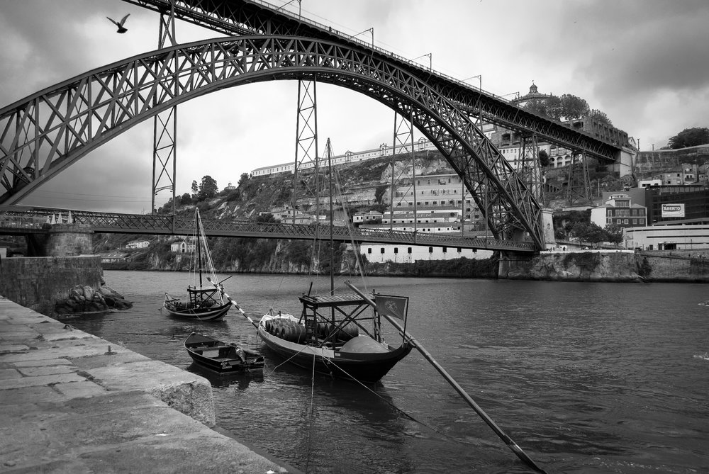 A view of Porto and the Rabelo boats on the Douro river...