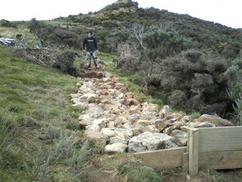 Callum modeling the  rock garden