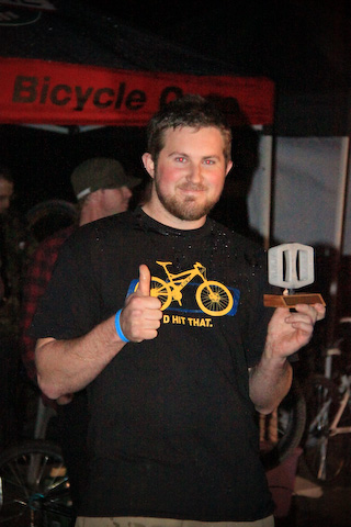 Mike Davis (Mavis), happy winner. Word has it that Mavis sold the pedal on his trophy to fun his McDonalds addiction.