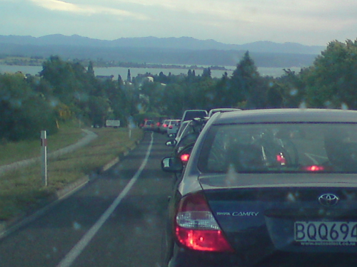 Traffic heading into Taupo on friday night, the influx of 11,000+ people was obvious!