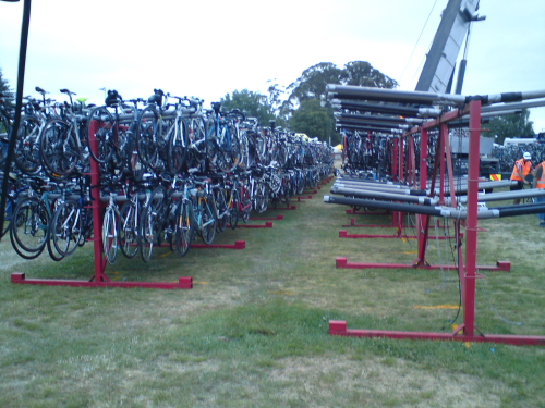 After our breakfast and coffee we still had a solid 45 minutes until we had to be on the start line so we lurked around the event area. Here 1000's of relay riders bikes were racked up ready to be trucked out to transition points around the lake. The sheer number of bikes on these racks blew me away!