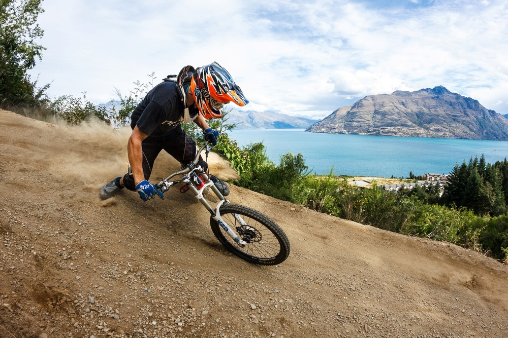 Queenstown Bike Park tracks with amazing lake and mountain views. Credit photographer Sean Lee_media