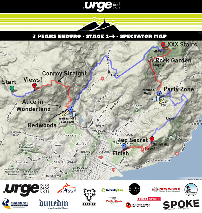2013 Urge 3 Peaks Map - Spectator Points