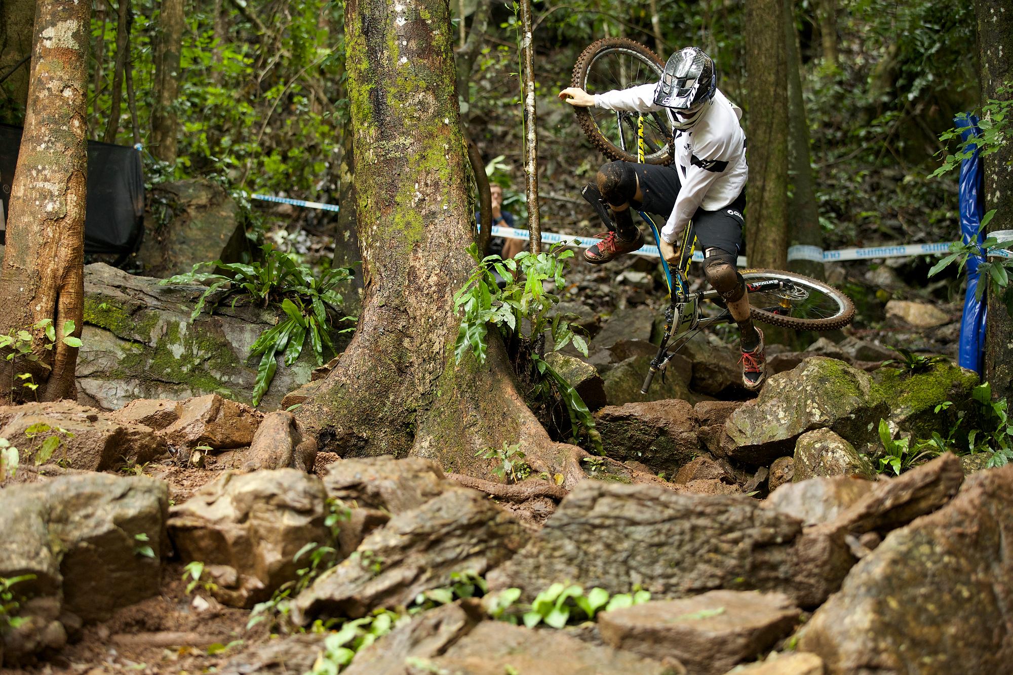 Kiwi junior Keegan Wright gets a closer look at the rock garden.