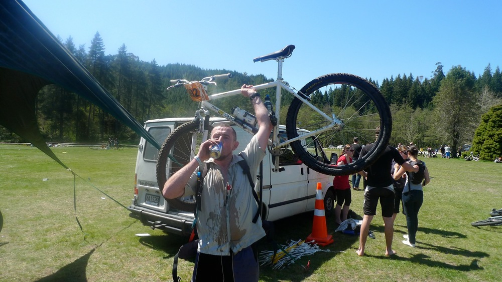 Chris at the Single Speed World Champs, ''in a world of pain''. ''Training was too focussed on the beer shortcuts!''