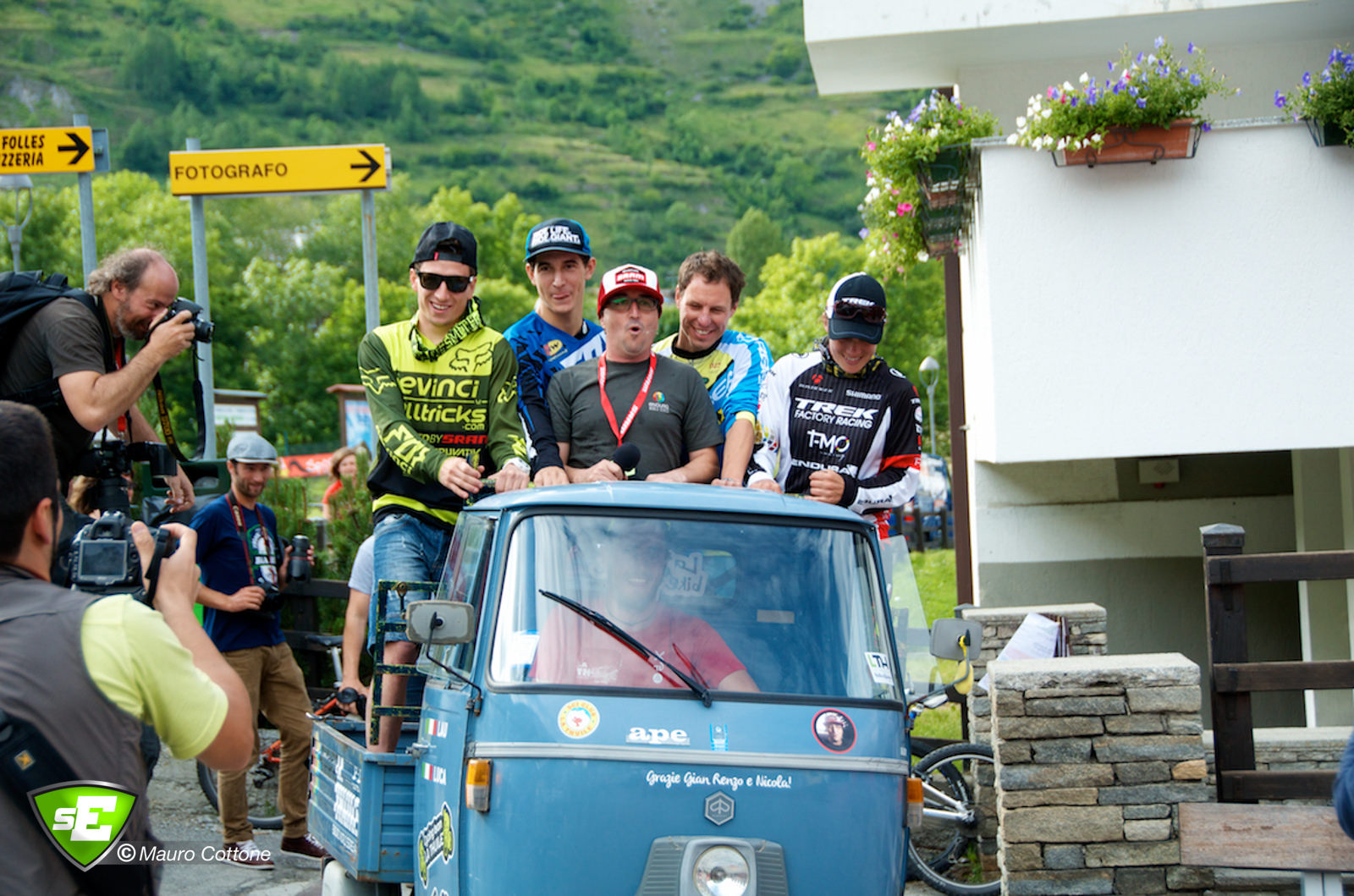 The godfather of Enduro takes the catergory winners on an APE tour of La Thuile.