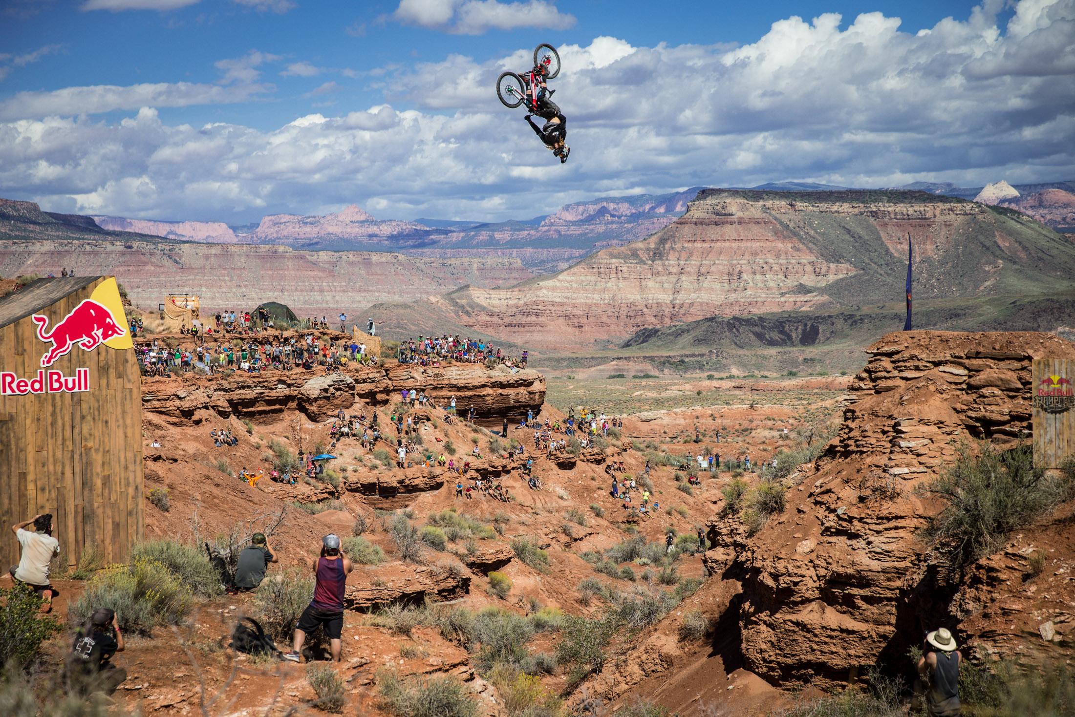 Kelly McGarry rides at finals during Red Bull Rampage in Virgin, Utah. Photo Christian Pondella