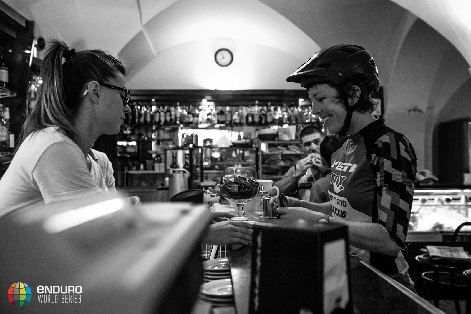 Rosara Joseph coffees up before day two. EWS 7 2014, Finale Ligure. Photo by Matt Wragg
