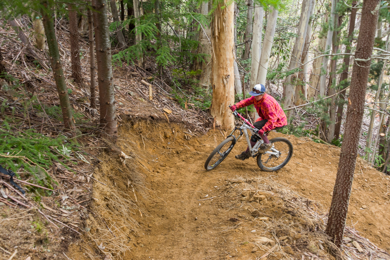 A mountain biker tests out the new Hut Track reroute - Photo by John O'Malley