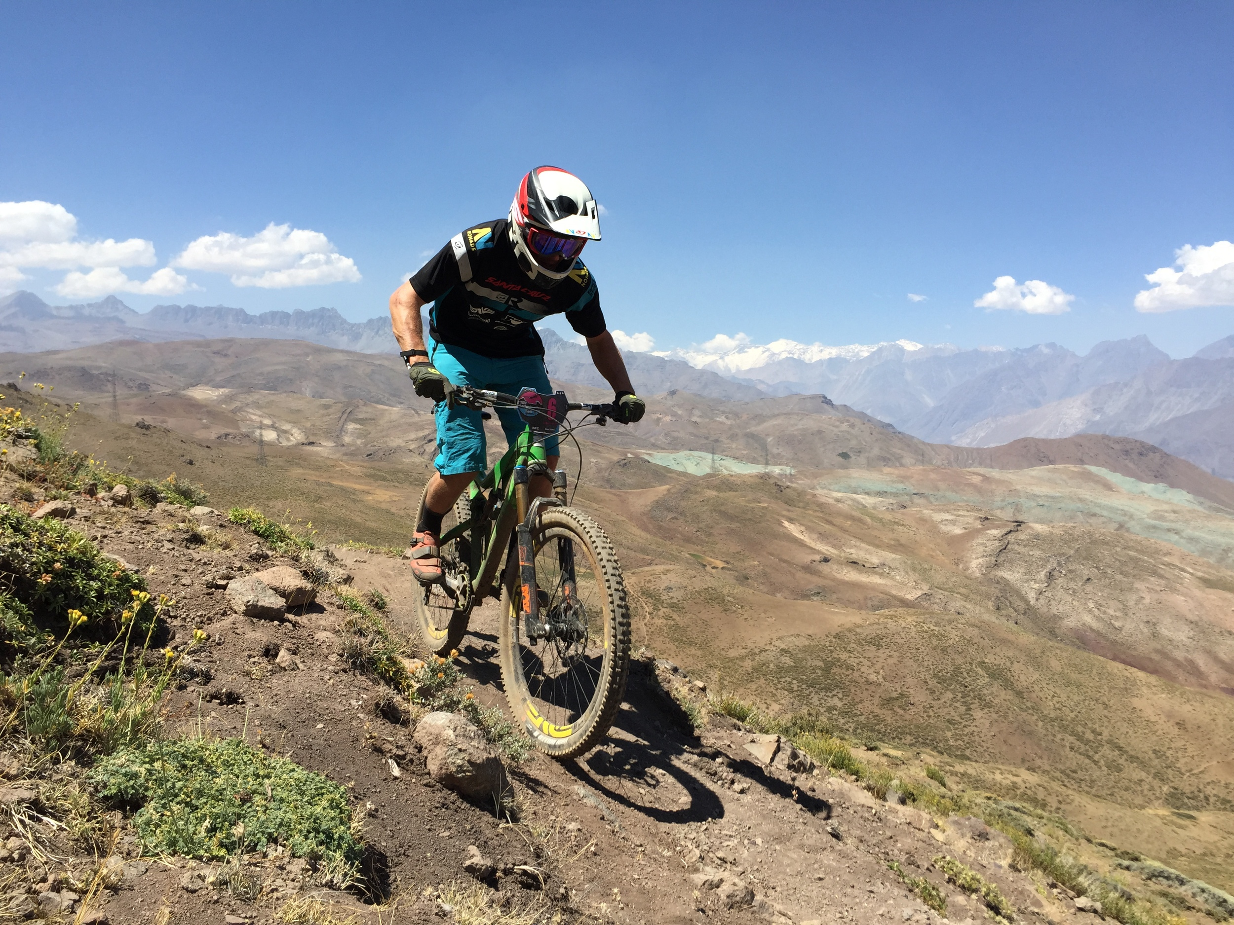 Enjoying some alpine single track high in the Andes during the transfer stages.