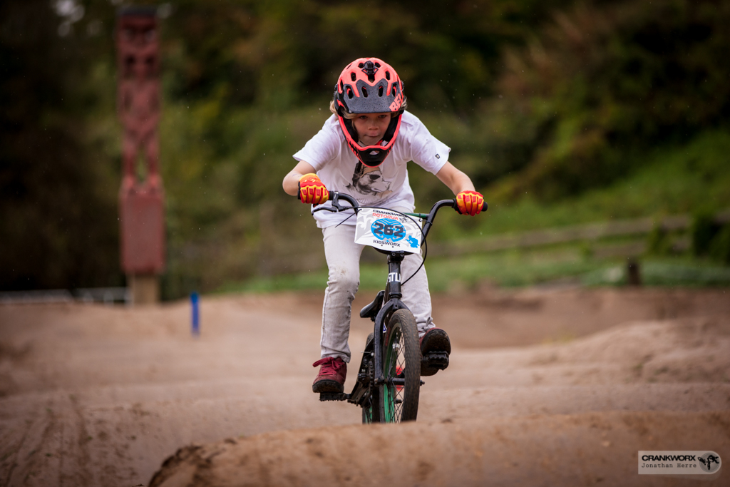 Kids loved the Crankworx Rotorua Pump Track Skills Session and Race at Skyline Gravity Park. Photo: Jonathan Herre