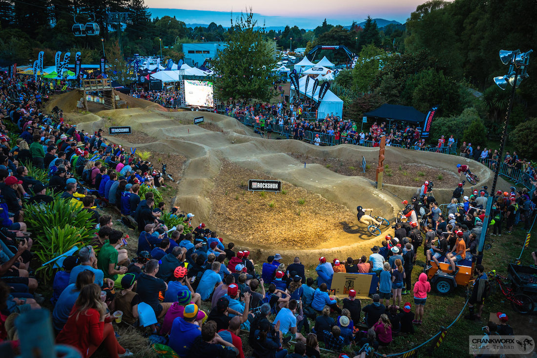 The crowd at the Pump Track Challenge presented by RockShox at Skyline Rotorua Gravity Park. Photo: Clint Trahan